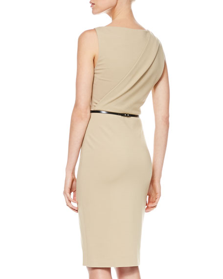 Twist-Shoulder Ponte Sheath