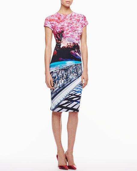 Elay Blossom-Print Jersey Short-Sleeve Dress