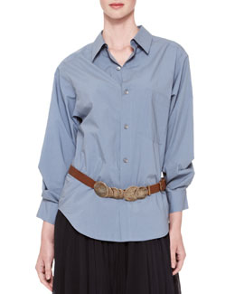 Donna Karan Oversized Stitched-Sleeve Button-Down