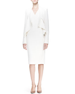 Roland Mouret Wezen V-Neck Sheath Dress, White