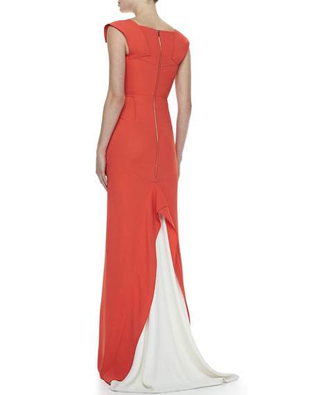 Phoenix Double-Crepe Folded-Sweetheart Gown