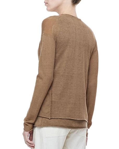 Long-Sleeve Draped Cashmere Cardigan