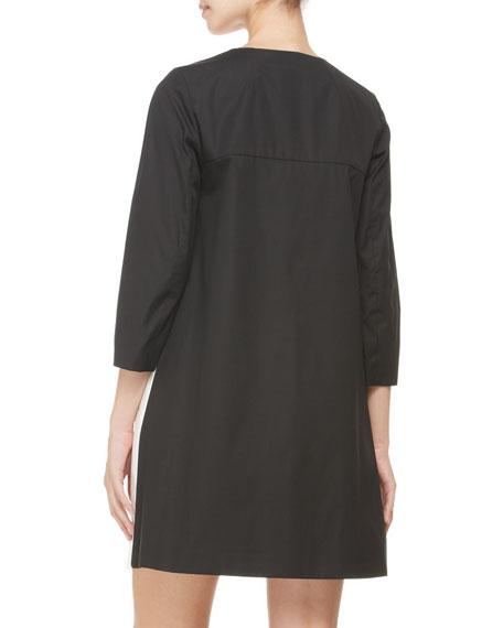 Three-Quarter-Sleeve Abstract-Print Coat, Black/Multi