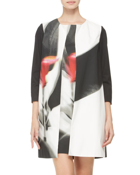 Three-Quarter-Sleeve Abstract-Print Coat, Black/Multi
