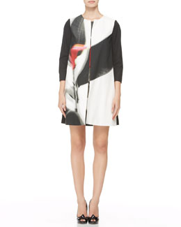 Paule Ka Three-Quarter-Sleeve Abstract-Print Coat, Black/Multi