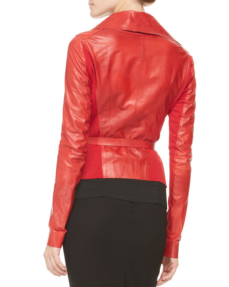 Belted Double-Collar Leather Jacket