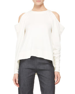 Donna Karan Cold-Shoulder Pullover Top