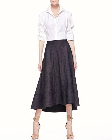 Long Denim Circle Skirt, Indigo
