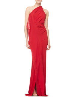 Donna Karan Draped One-Shoulder Evening Gown