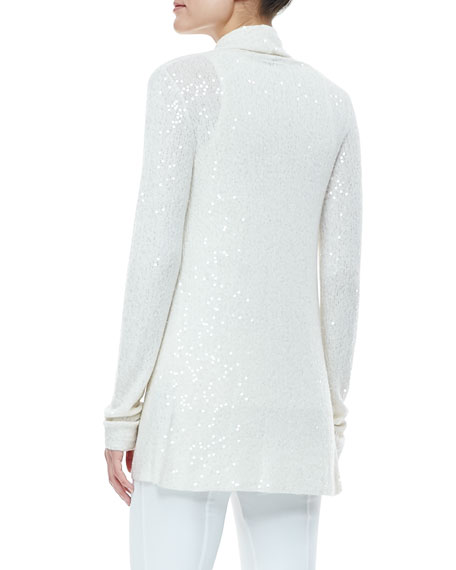 Sequined Drape-Front Cardigan, Ivory