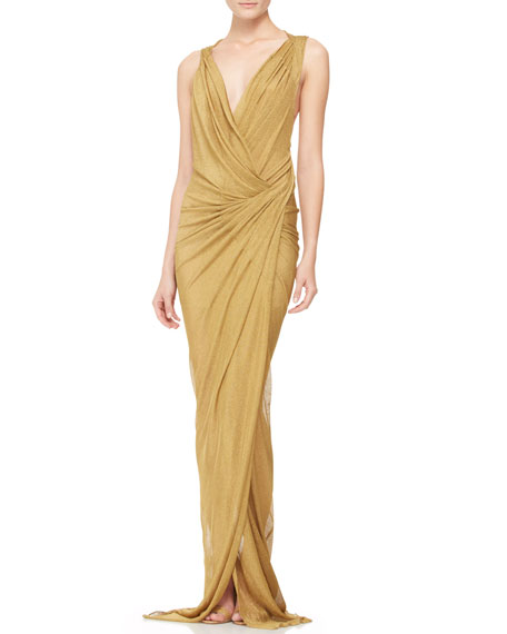 Plunging Twist-Back Evening Gown