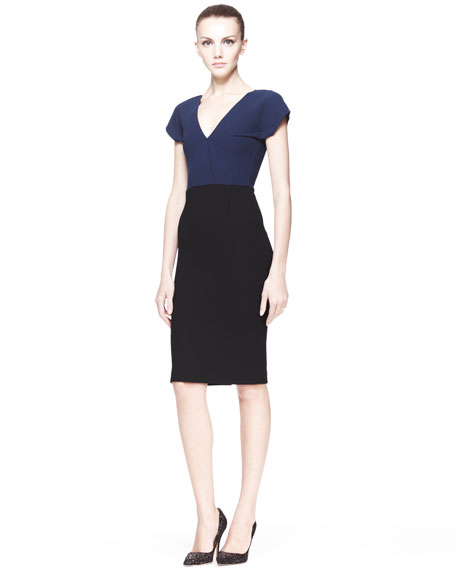 Afyon Two-Tone Sheath Dress