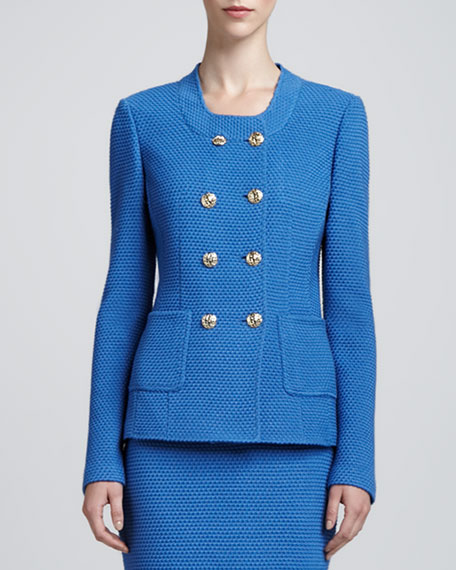 Double-Breasted Knit Jacket, Pacific