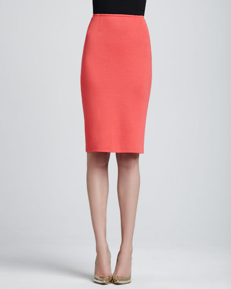 Milano Knit Pencil Skirt, Hibiscus