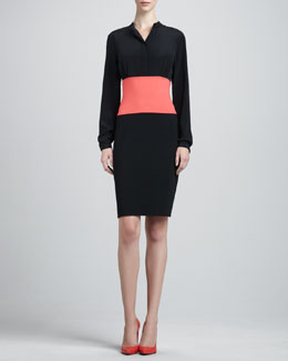 St. John Long-Sleeve Milano Colorblock Dress, Caviar/Hibiscus