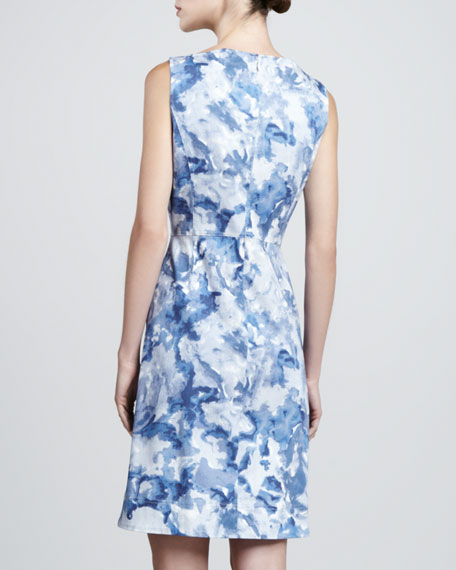 Sleeveless Abstract-Print Dress, Pacific/Multi