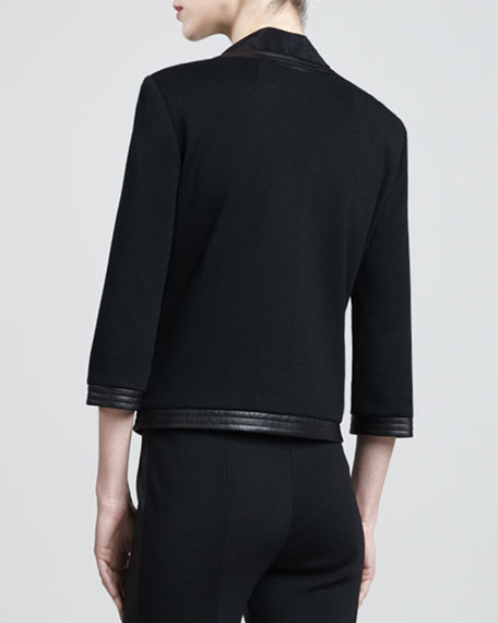 Milano Knit Jacket with Leather, Caviar