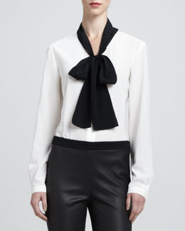St. John Collection Long-Sleeve Stretch Silk Blouse