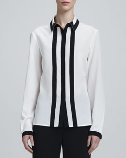 St. John Collection Long-Sleeve Contrast-Trim Blouse, White/Caviar