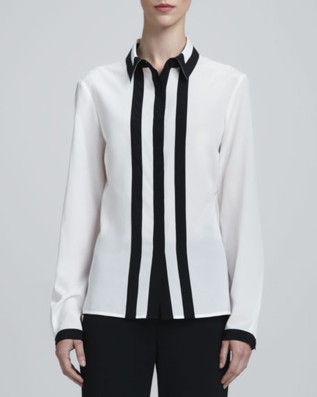 Long-Sleeve Contrast-Trim Blouse, White/Caviar