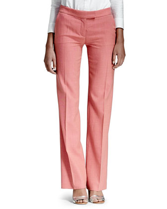 Textured Straight-Leg Pants