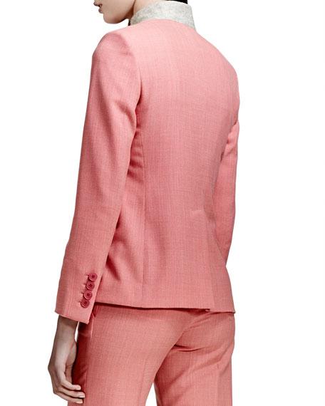 Textured Stand-Collar Blazer