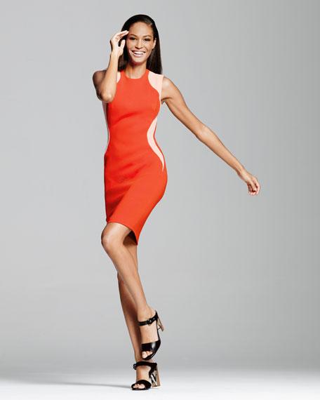Contour-Colorblock Sheath Dress, Vermillion