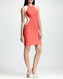 Stella McCartney Contour-Colorblock Sheath Dress, Vermillion