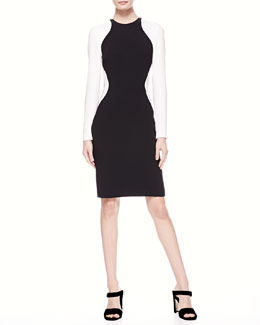 Stella McCartney Colorblock Wave Long-Sleeve Dress
