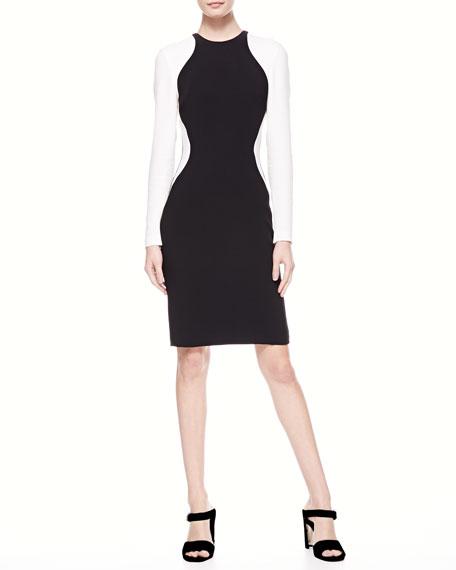 Colorblock Wave Long-Sleeve Dress