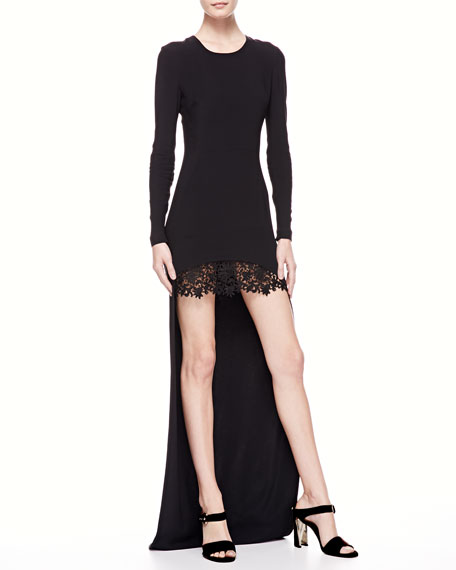 LONG HI-LO DRESS W/ LACE SKI