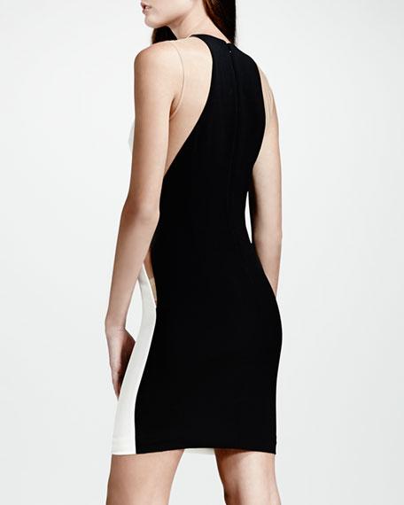 Mesh-Inset Colorblock Dress, White/Nude/Black