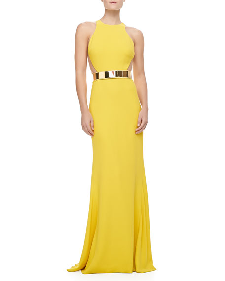BELTED GOWN HIGH NK SLVLS ME