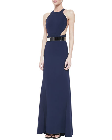 Belted Mesh-Inset Racerback Gown