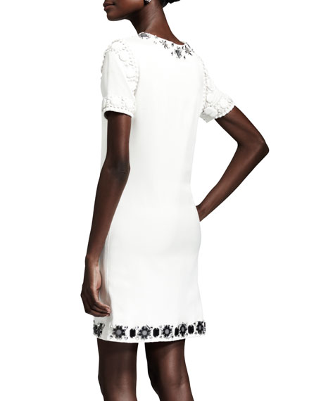 Crystal-Embellished Cotton Shift Dress, White