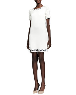 Lanvin Crystal-Embellished Cotton Shift Dress, White