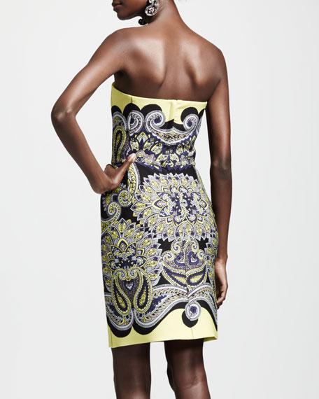 Techno Paisley Mosaic Dress, Yellow