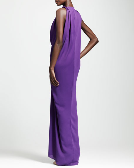 Plunging Draped Evening Gown, Purple