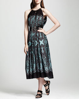 Lanvin Printed Cutaway-Shoulder Dress, Brown/Turquoise
