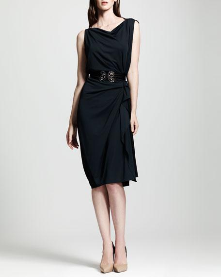 Bicolor Side-Ruched Shift Dress, Blue/Black