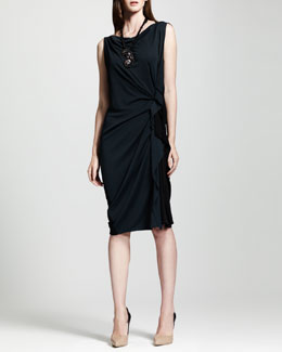 Lanvin Bicolor Side-Ruched Shift Dress, Blue/Black