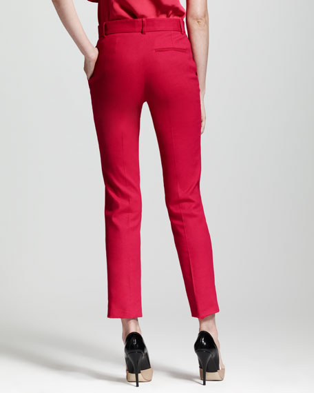 Straight-Leg Ankle Pants, Fuchsia