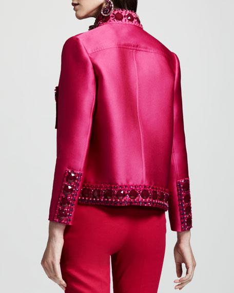 Crystal-Embellished Duchesse Jacket, Pink