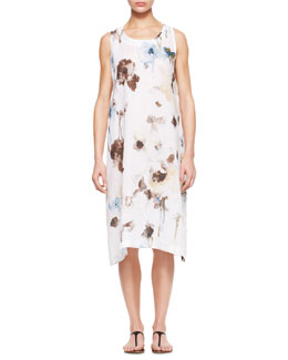 eskandar Floral Pleated Sleeveless Dress, White