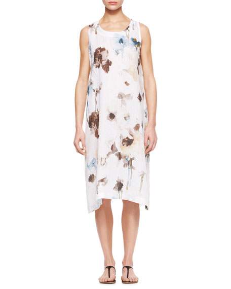 Floral Pleated Sleeveless Dress, White