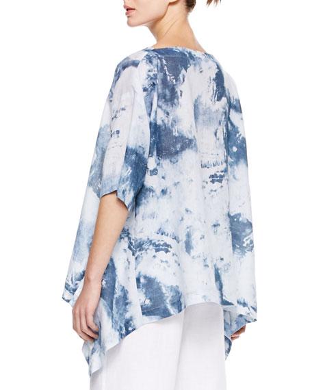 Side-Cascading T-Shirt, Denim