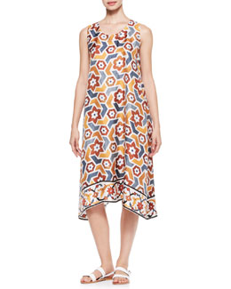 eskandar Printed Pleated Sleeveless Dress, Marble/Multi