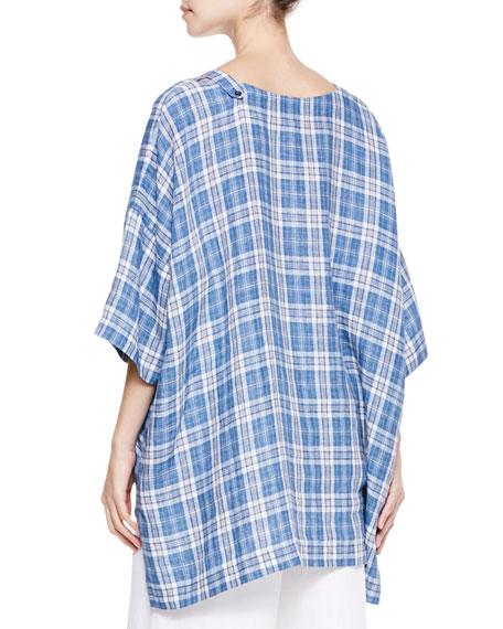 Longer-Back Wide T-Shirt, Denim