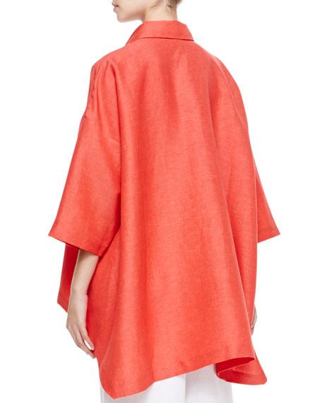Hi-Low Short-Sleeve Shirt, Coral
