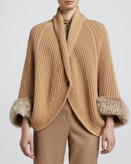Hand-Knit Cape with Removable Fur Trim